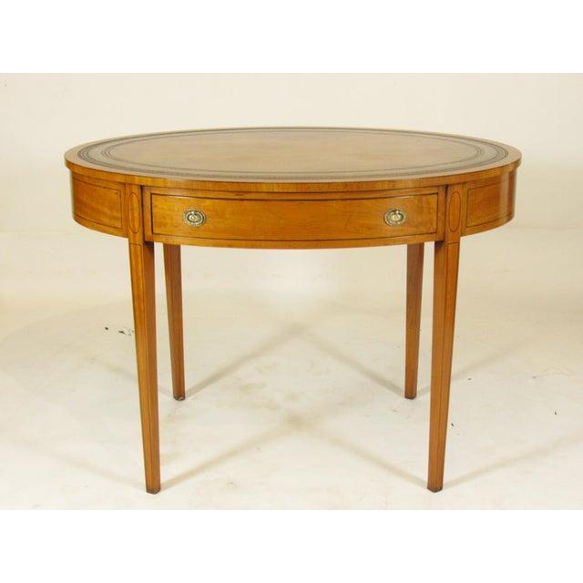 Orange 19th Century English Georgian Inlaid Satinwood Writing Table For Sale - Image 8 of 8
