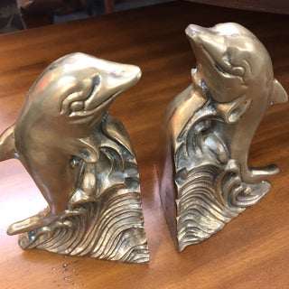 Vintage Brass Dolphin Bookends - a Pair Preview