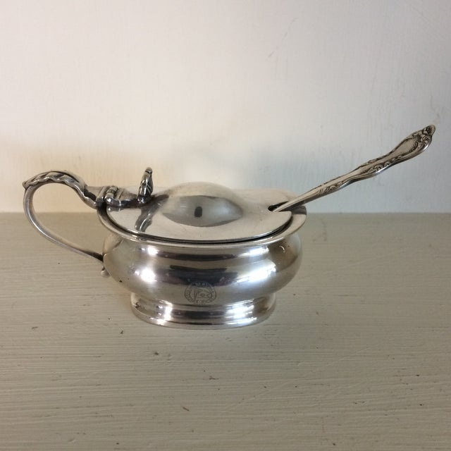 1930s Furness Bermuda Lines Silver Salt Cellar With Glass Liner and Spoon For Sale - Image 13 of 13