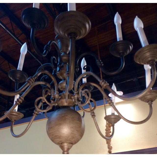 Traditional Eleven Light Brass Chandelier For Sale - Image 4 of 9