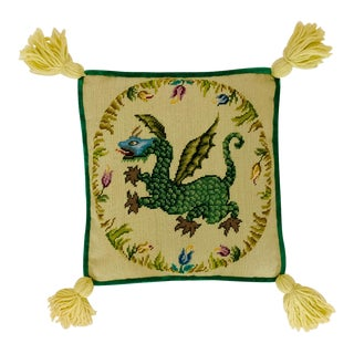 Vintage Ca 1950s Winged Dragon Floral Boxed Needlepoint Pillow With Tassels For Sale