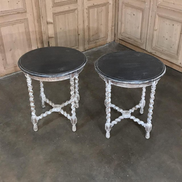 Pair Antique Barley Twist Painted End Tables For Sale In Dallas - Image 6 of 13