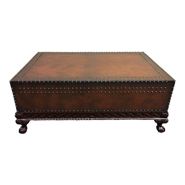 Ralph Lauren Dalton Dark Brown Leather Coffee Table in excellent condition. Two large drawers for storage. Amazing carving...