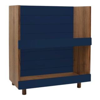 Nico & Yeye Minimo Modern Kids Bookcase Walnut Deep Blue For Sale