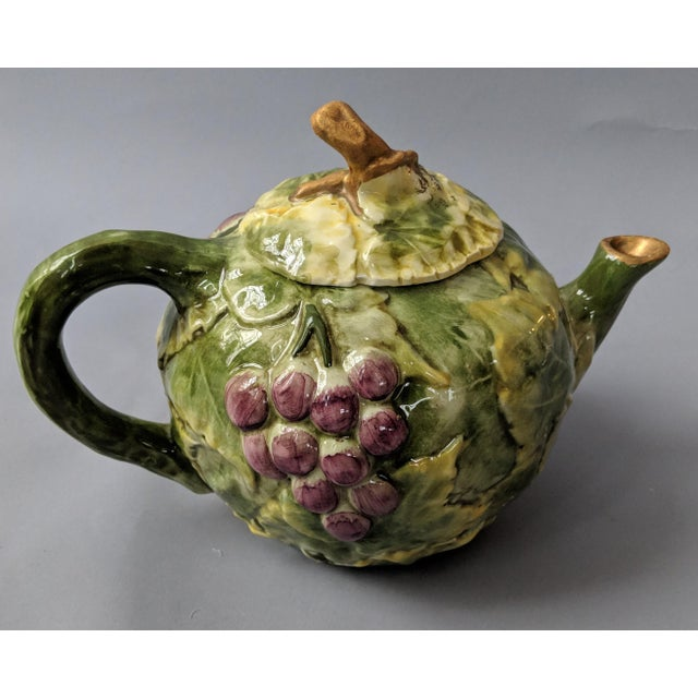 Americana Vintage Italian Grape Leaf Motif Tea Pot For Sale - Image 3 of 11