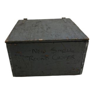 Vintage Industrial Gray Wood Storage Chest For Sale