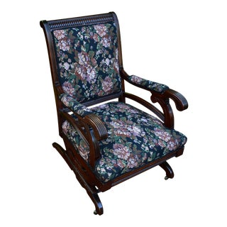 19th Century Antique Victorian Eastlake Mahogany Rocking Chair New Upholstery For Sale
