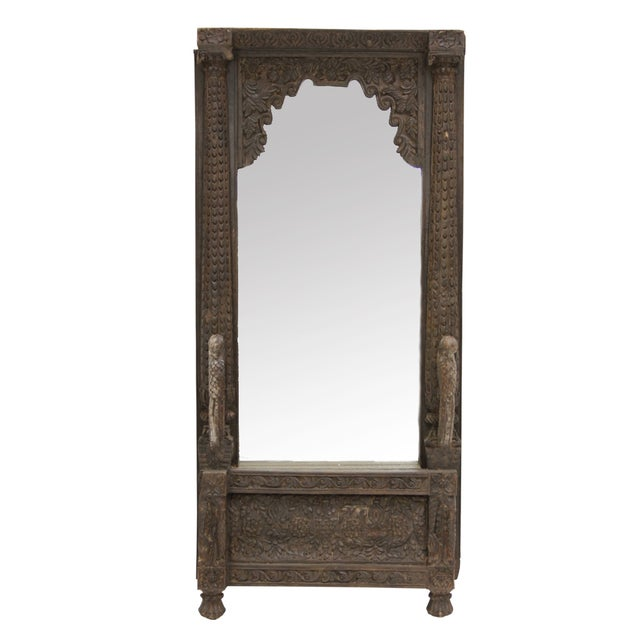 Antique Carved Peacock Indian Balcony Mirror For Sale