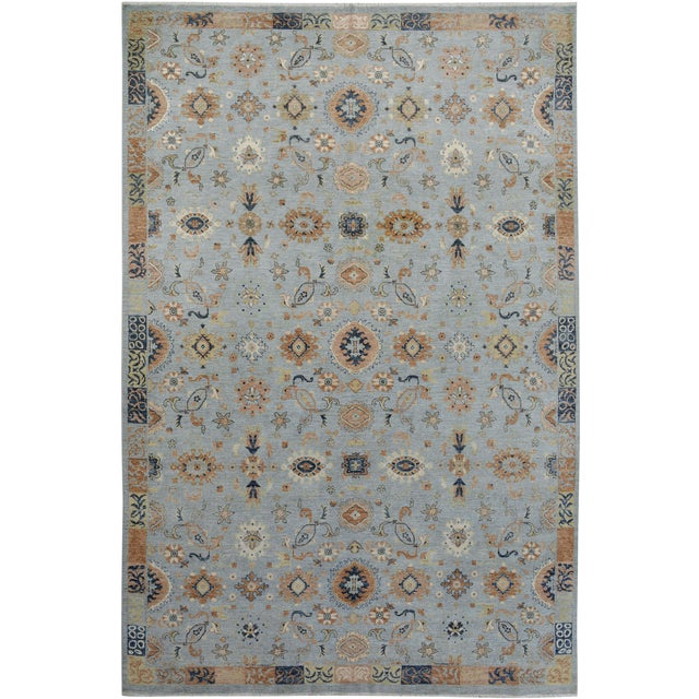 Kafkaz Peshawar Reid Blue & Tan Wool Rug - 9'0 X 12'3 For Sale
