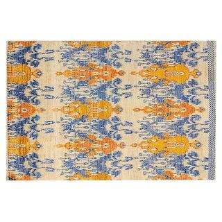 Orange & Blue Ikat Wool Rug - 6′ × 9′ For Sale