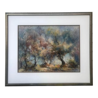 Vintage Large Impressionist Watercolor Landscape of Trees by Mary Robbins For Sale