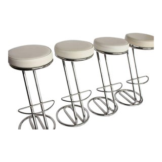 "Modern Leather and Chrome Tube ""Z"" Stools - Set of 4"