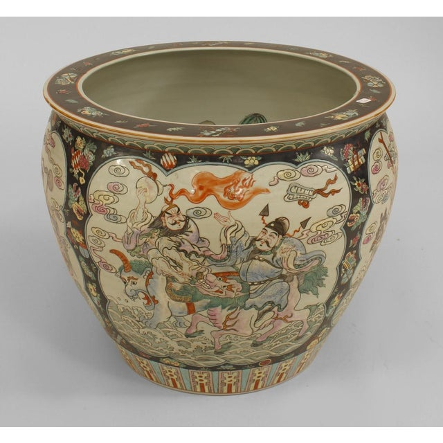 Asian Asian Chinese Style Black & White Jardiniere For Sale - Image 3 of 3