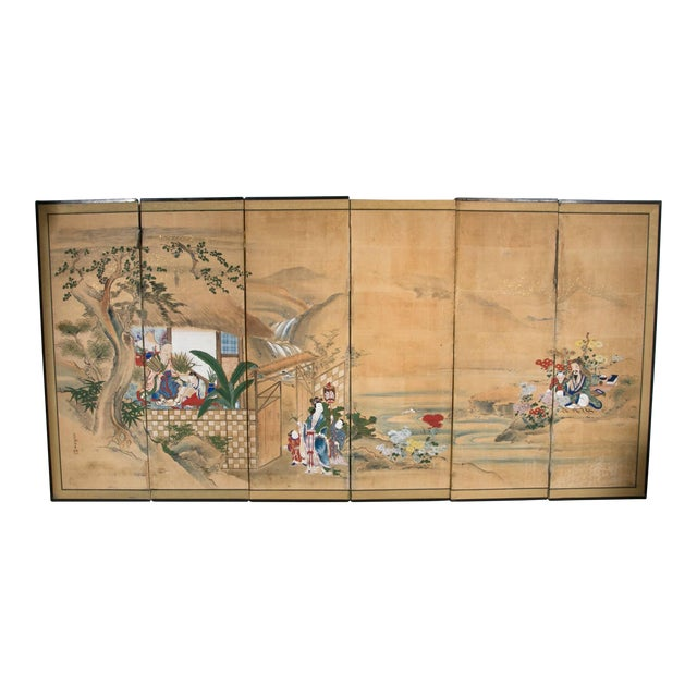 18th Century Japanese Six-Panel Screen For Sale