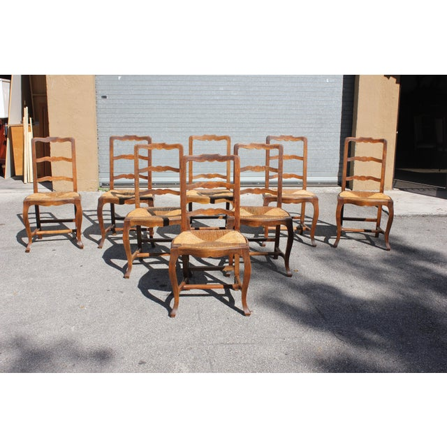 Cottage Early 20th C. Vintage French Country Rush Seat Walnut Dining Chairs - Set of 8 For Sale - Image 3 of 13