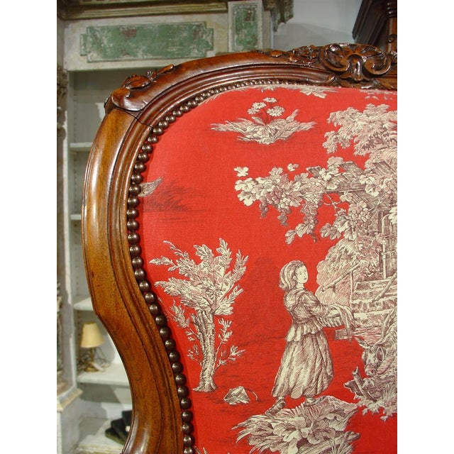 White Pair of Louis XV Style Walnut Fauteuils with Toile de Jouy Upholstery For Sale - Image 8 of 10