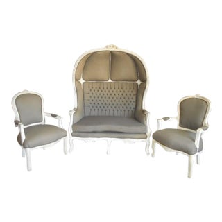 Louis XVI Hooded Gray Upholstered Sofa and Chairs - 3 Pc. Set