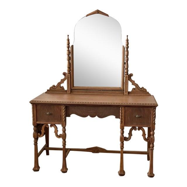 Vintage Victorian Style Karpen Vanity With Mirror For Sale