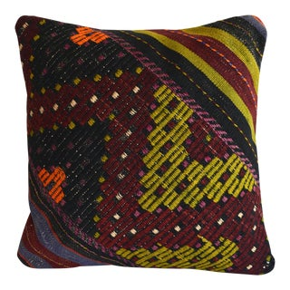 "Hand-Woven Turkish Kilim Rug Pillow Cover - Throw Pillow Sham Diagonal Cut - 16"" X 16"" For Sale"