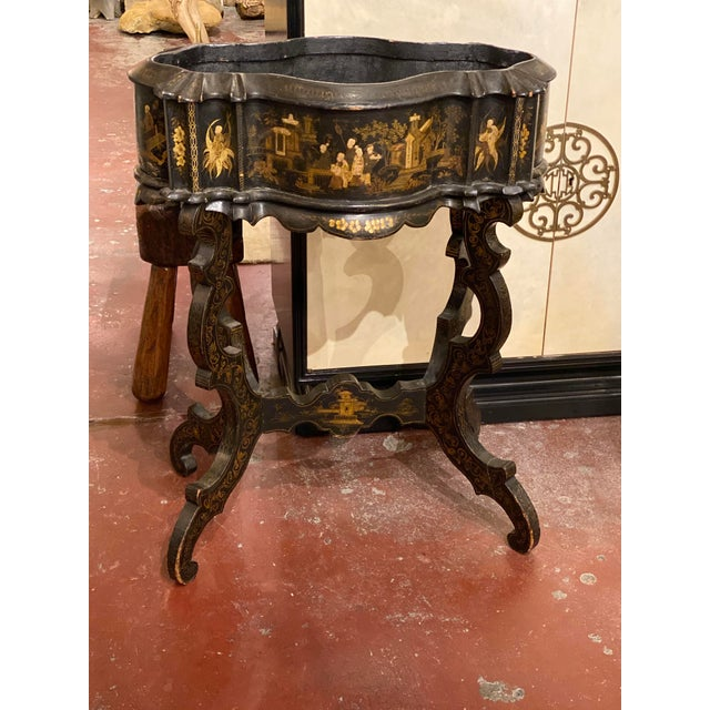 """19th century chinoiserie planter with serpentine front and shaped legs. 25.5"""" Wide x 14.5"""" Deep x 33"""" High"""