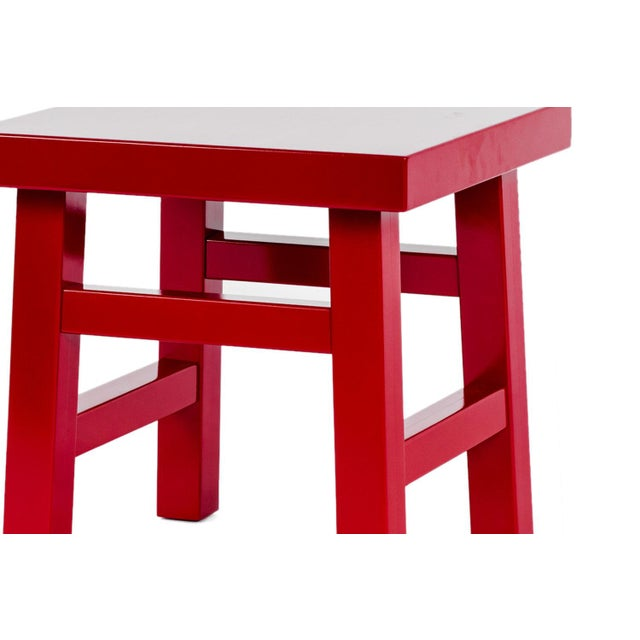 Contemporary Mooooi Red Lacquered Solid Birch Farmer Side Table For Sale - Image 3 of 5