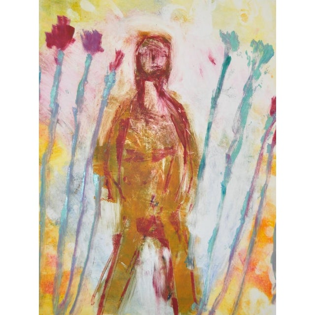 """Abstract Arthur Krakower """"Woman in the Garden"""" Monotype Painting For Sale - Image 3 of 5"""