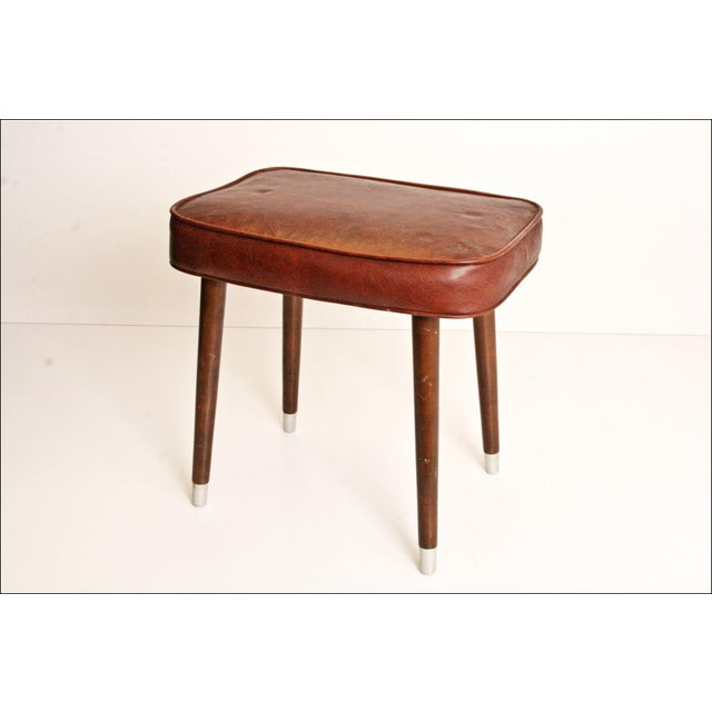 Mid-Century Brown Vinyl Foot Stool - Image 2 of 8