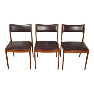 Set of 3 Uldum Danish Modern Dark Brown + Teak Side Dining Chairs For Sale
