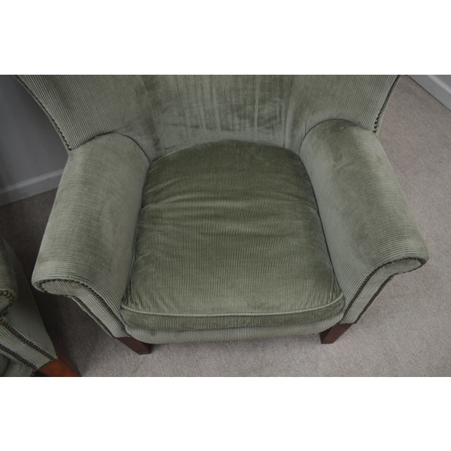 Olive Pair Ralph Lauren Upholstered Arm Chairs For Sale - Image 8 of 11
