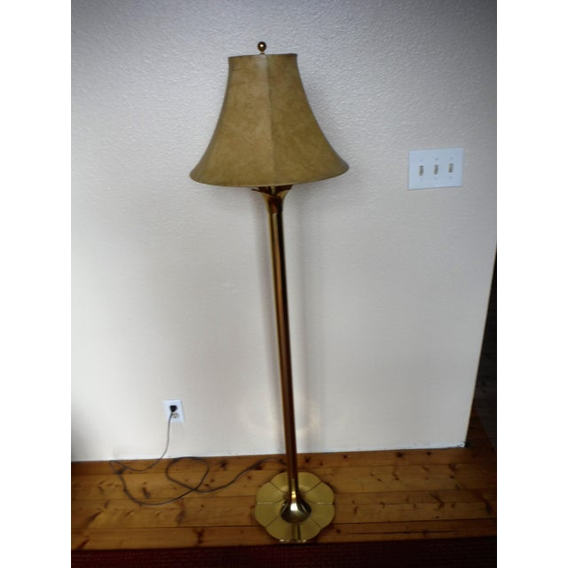 "Stiffel Mid-Century Modern ""Lily and Lotus"" Brass Floor Lamp - Image 2 of 10"