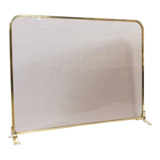 Vintage Modern French Brass and Glass Fire Screen For Sale