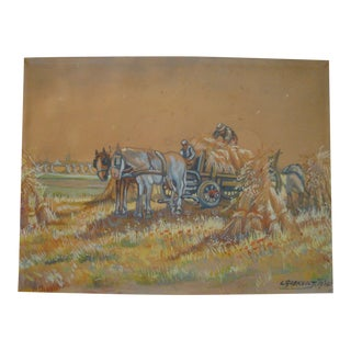 Vintage 1930s Hay Harvest European Painting For Sale