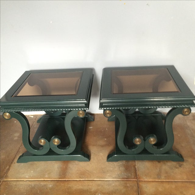 Hollywood Regency Harp-Shape Lacquer Side Tables - A Pair For Sale - Image 3 of 10