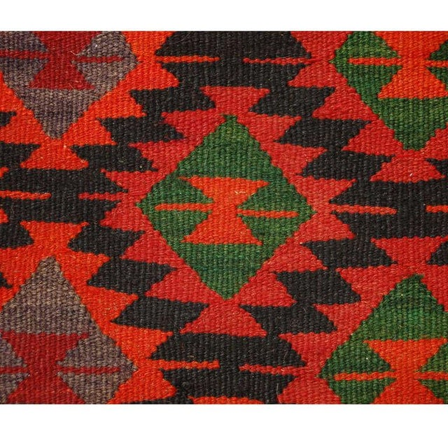 "Islamic Early 20th Century Persian Qazvin Kilim Runner - 39"" x 99"" For Sale - Image 3 of 4"