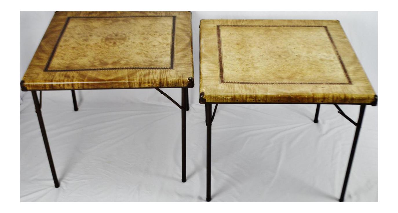 Beau Vintage 7700 Series Shwayder Brothers Samson Folding Card Tables    A Pair