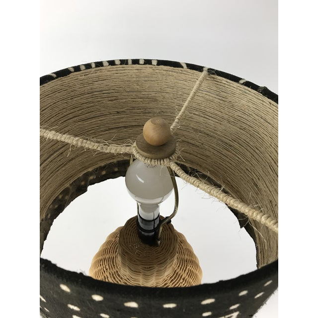 Wicker Ginger Jar Table Lamp With Mud Cloth Drum Shade For Sale - Image 4 of 13