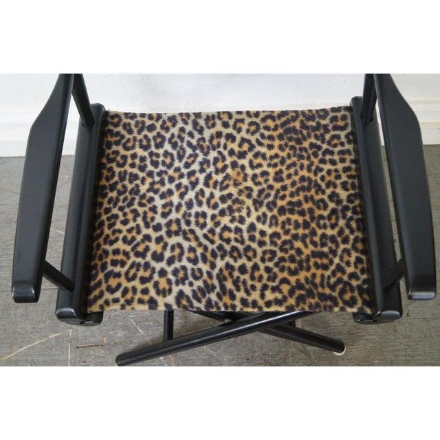 Mid Century Leopard Print Folding Directors Chairs Pair