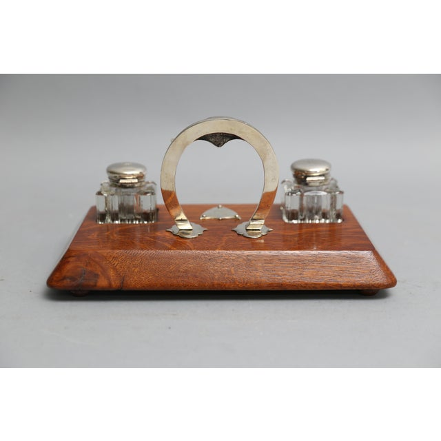1910s Antique English Equestrian Desk Set Inkwells Circa 1910 For Image 5 Of