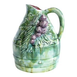 Early 20th Century Handmade French Majolica Pottery Pitcher With Grapes For Sale