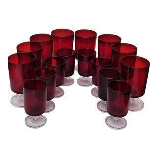 Vintage Art Deco Ruby Red Glassware Wine Cordial Stemware, France - 16 Piece Set For Sale