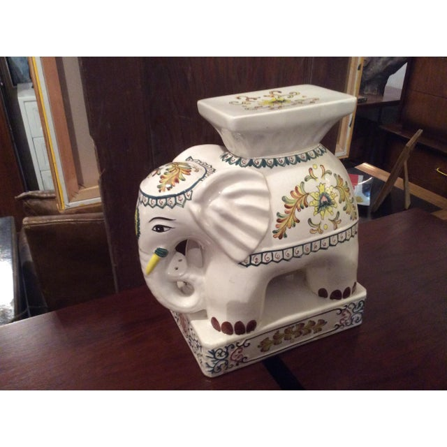 1970s Vintage Ceramic Elephant Garden Stool For Sale In Raleigh - Image 6 of 6