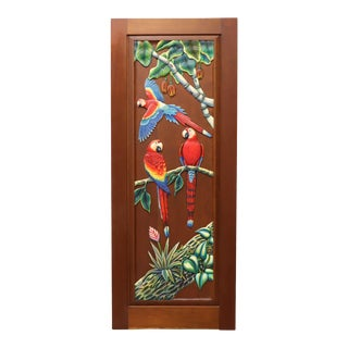 Hand Carved & Painted Honduras Mahogany Door / Panel - Red Parrots For Sale