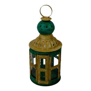 Early 21st Century Indian Green Metal Lantern - Small