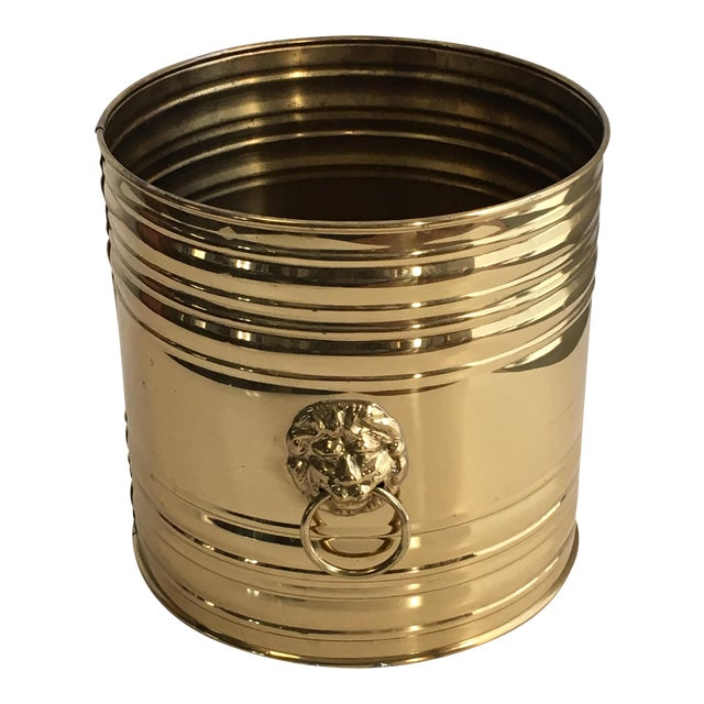 Lion Head Brass Planter, Made in England For Sale