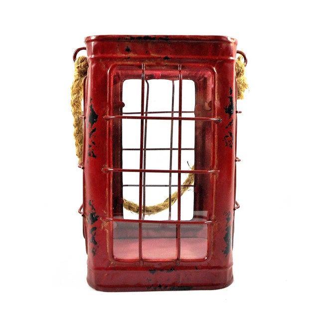 Red Rustic Tin Glass Candle Lantern & Rope Handle - Image 6 of 6