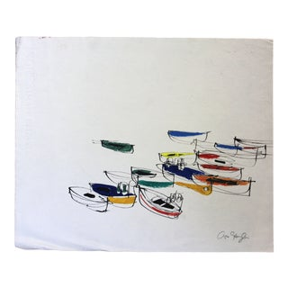 Arno Sternglass Fishing Boats, Venice Contemporary Painting For Sale