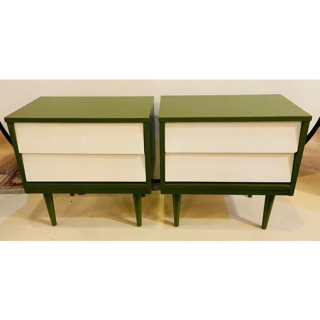 Wood Mid Century Modern Two Tone Nightstands - a Pair For Sale - Image 7 of 13