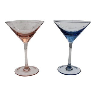 Pink and Blue Kate Spade Martini Glasses - a Pair For Sale