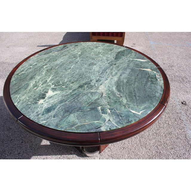 Art Deco French Art Deco Macassar Ebony Round Center Table With Green Marble Top For Sale - Image 3 of 13