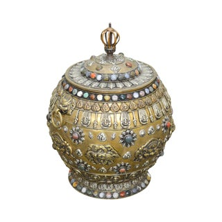 Tibetan Brass Jeweled Censer Lidded Urn Pot